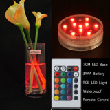 Lumière à piles de fond de vase à 10 DEL RVB DEL avec la lampe à télécommande du sous-marin DEL pour Noël de noce