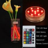 Lámpara sumergible teledirigida del RGB 10 LED para Navidad de la boda