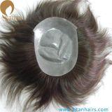 Toupee fino indiano da pele do cabelo humano de Remy da oferta da fábrica