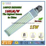 2016 lampe chaude du G-24 Pl DEL de la vente 15W E27 G23 avec la sortie la plus élevée 160lm/W au monde