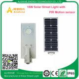 luz de calle solar toda junta de 15watts LED con el sensor de movimiento de PIR
