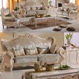 居間の家具のためのキャビネットが付いている古典的な革ソファー