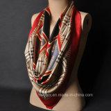Scialle delle signore 100%/sciarpa personalizzati di grande misura di seta del raso con il bordo di stampa della zebra (HWBS32)