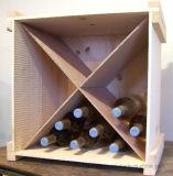 Cremalheira de madeira da caixa de armazenamento do frasco da cremalheira ou da bebida do vinho