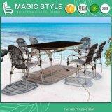 Jogo ajustado de jantar ao ar livre ajustado de jantar de vime do sofá da tabela de jantar da cadeira de vime do projeto novo