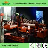 유럽 프랑스 크라운 뒤 단단한 나무로 되는 가죽 침대/침대 룸 가구는 Sr033를 놓는다