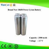 LED 빛을%s 재충전용 리튬 3.7V 2500mAh Li 이온 18650 건전지