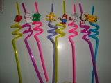PVC populaire de 2015 Cartoon Design Plastic Straw avec 4PCS