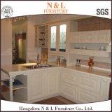 U-Art-weißer festes Holz-Küche-Schrank