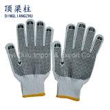 Baumwolle gestrickte Handschuhe der Sicherheits-7g mit zwei seitlichen Belüftung-Punkten