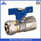 Válvula de bola de compresión de latón de alta calidad con FF termina (YD-1044)