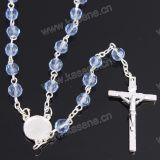 Het in het groot 8mm Blauwe Kristal parelt de Godsdienstige Halsband van de Rozentuin, de Halsband van de Juwelen van het Kristal, Katholieke Rozentuin met het Kruis van de Legering & Centrum