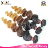 Preiswerter Kosten-Großverkauf-federnd lockiges Haar loses lockiges Remy peruanisches/malaysisches Ombre Haar