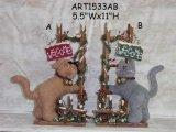 Decoración casera del gato y del perro de la Navidad en Fence-2asst. de madera