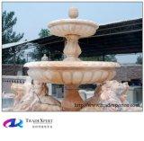 Fontana di acqua di pietra di marmo intagliata con la scultura animale