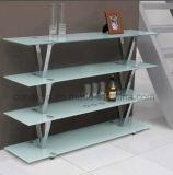 Moderner Entwurfs-Edelstahl-Rahmen-Glasspitzenbücherregal