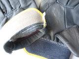 Gant de gestionnaire de dos de denim de paume de cuir de meubles de couleur foncée