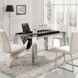 家具を食事する贅沢な銀製の絵画ステンレス鋼のダイニングテーブル