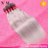 Brasilianische graue Remy Menschenhaar-Webart rollt 100g/PCS 7A menschliches brasilianisches gerades Haar-graues Farben-Haar, kann gefärbt werden zusammen