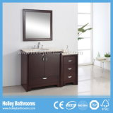 Mobília clássica de luxe do banheiro da vaidade da madeira contínua do estilo americano com gabinete lateral (BV150W)