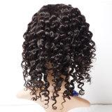 人間の毛髪のポニーテールのレースの前部かつらは結び目のブラジルのねじれた巻き毛のかつらの織り方の100%年のRemyの人間の毛髪の織り方の自由なかつらカタログを漂白した