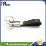 Chaîne porte-clés en cuir à double anneau personnalisée
