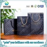 Хозяйственная сумка подарка печатание логоса роскошная черная штейновая розничная бумажная
