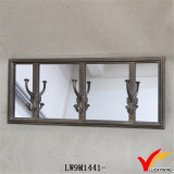 Hook Antique Wall Espelho decorativo com moldura de metal