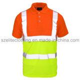 Fita altamente reflexiva feita sob encomenda da camisa de polo do amarelo da segurança (ELTHVJ-84)