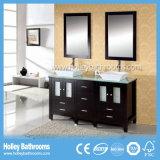 Festes Holz-stellten erstklassige moderne Badezimmer-Zubehör mit zwei Spiegeln ein (BC127V)