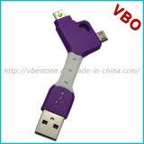 Novidade 2 em 1 cabo cobrando do USB de Keychain para o iPhone, Samsung