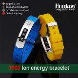 Bracelet en silicone en acier inoxydable de dernière qualité avec perles d'hématite (20005)