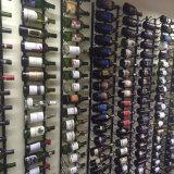 Estante montado en la pared de pintura del vino del hierro, capacidad 9-Bottle