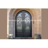 Portas de entrada dobro elegantes do ferro de Wought da parte superior do quadrado do projeto com Sandblast