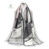 Sjaal van de manier met Geometrische Brieven drukte Dik Satijn af Dame Scarf