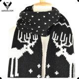Presente nevado nórdico do Natal do lenço do teste padrão do jacquard dos cervos da forma