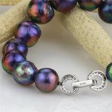 bracelete de água doce natural redondo da pérola da prata esterlina de 10-12mm AA