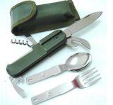 Couteau et fourche pliés portatifs campants de déplacement extérieurs tactiques militaires d'ouvreur de nourriture multifonctionnelle