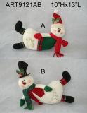 """12 """" Hx20 """" L Santa e boneco de neve Doorstopper com cumprimentos, decoração do Asst-Natal 3"""