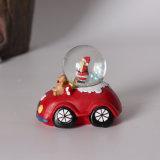 Globo da água de Papai Noel da lembrança de Polyresin Snowglobe com base do carro