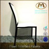 曲がる現代贅沢で快適な白革椅子を食事する