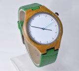 Reloj de madera del cuero genuino de la venda verde de la PU