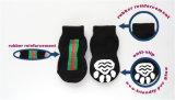 Cool Black Knitting Cotton Anti-Skid Dog Socks Accessoires pour animaux de compagnie