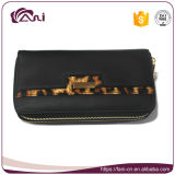 Черный бумажник для женщин, двойной бумажник с конструкцией способа, бумажник застежки -молнии PU кожаный