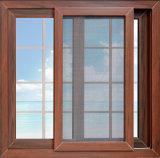 Portes coulissantes en verre en aluminium avec grilles, glissières en aluminium avec gril