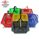 O metal novo do dobro do estilo 2016 segura cestas plásticas do supermercado para a alameda de compra