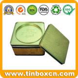 Plaza de té caja de la lata con tapa hermética