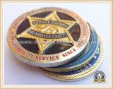 금에 의하여 도금되는 동전 (이중 면 3D)