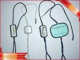 Étiquette en plastique de plastique de logo d'argent d'étiquette de chaîne de caractères de vêtement d'étiquette de joint