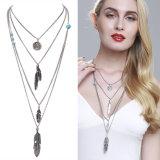 Le multiple fait varier le pas du bijou pendant de collier de long de collier de mode de pièce de monnaie alliage de turquoise